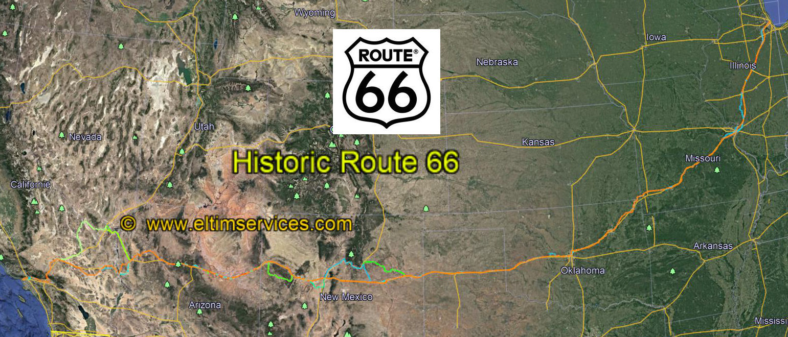 Route 66 Usa Map.Route 66 Usa Exact Presentation In Google Earth